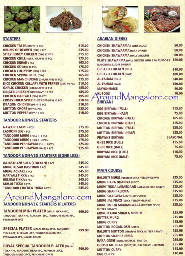 Food Menu Udupi Royal Darbar Restaurant Falnir Mangalore P1 - Udupi Royal Darbar - Restaurant - Falnir