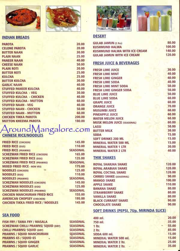 Food Menu Udupi Royal Darbar Restaurant Falnir Mangalore P3 - Udupi Royal Darbar - Restaurant - Falnir