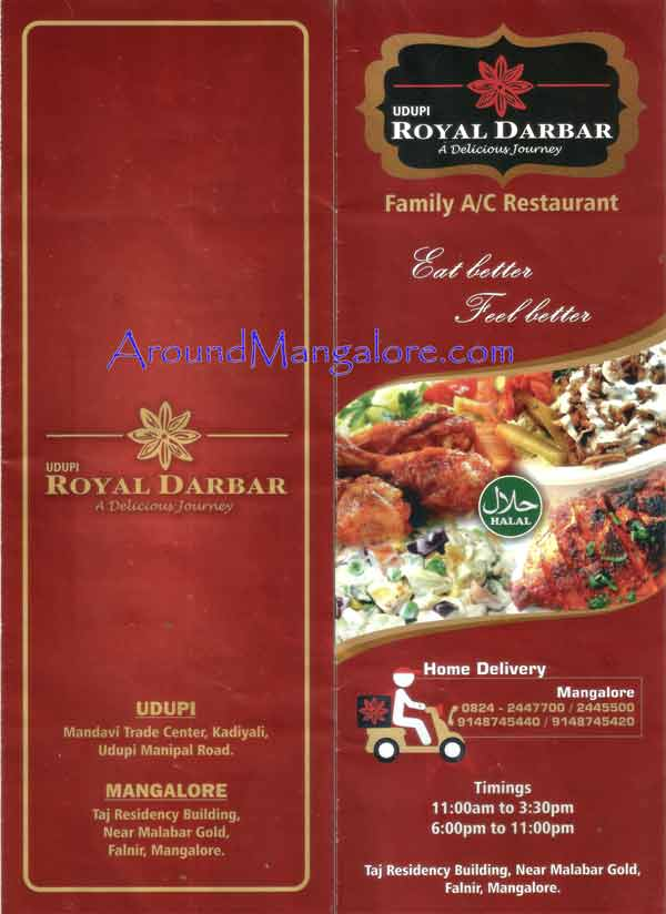 Food Menu - Udupi Royal Darbar - Restaurant - Falnir, Mangalore