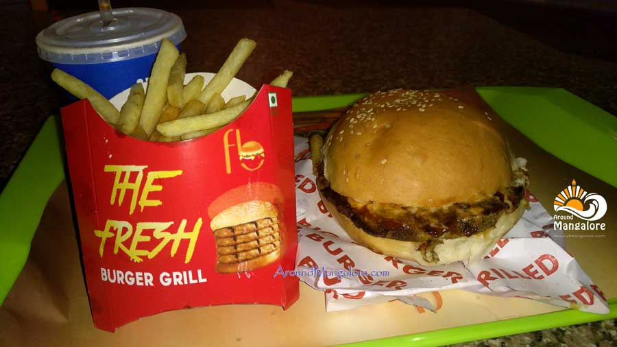 Grilled Big Burger (Combo) - The Fresh - Burger Grill, Empire Mall, Mangalore