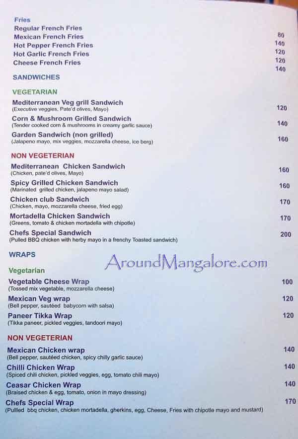 Food Menu - Chefs Burger Fest - Oct 2016 - Chefs - Kadri, Mangalore