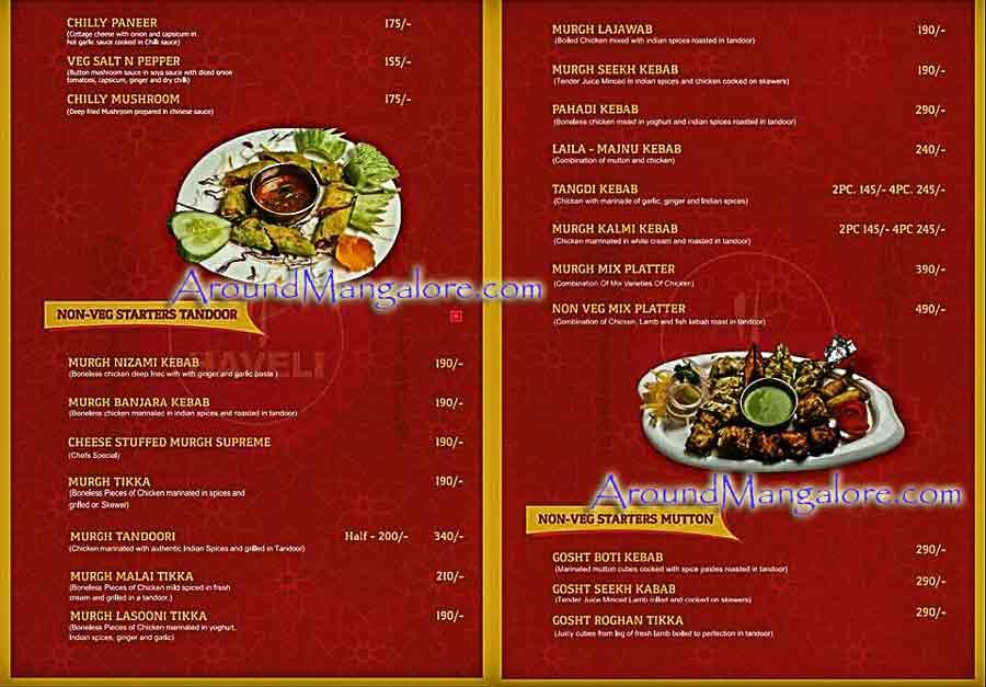 Food Menu - Haveli MultiCuisine Restaurant - Kadri, Mangalore