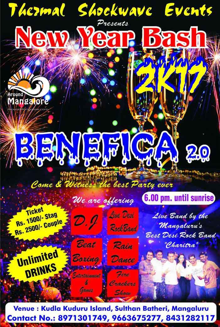 Benefica 2.0 - new Year Bash 2K17 - Havana Island, Mangalore