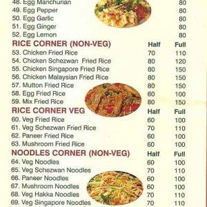 Food Menu - Green Chilli - Bejai, Mangalore