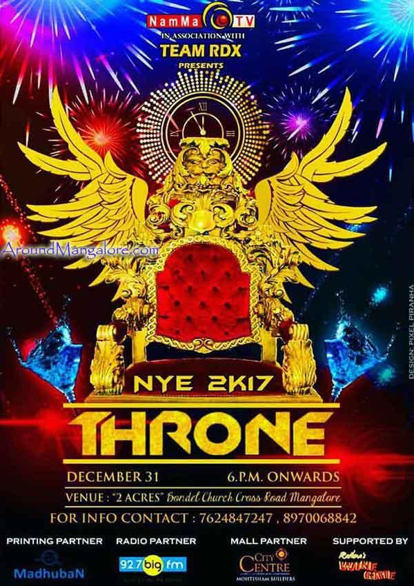 NYE 2K17 - Throne - 2 Acres, Bondel, Mangalore - New Year 2017