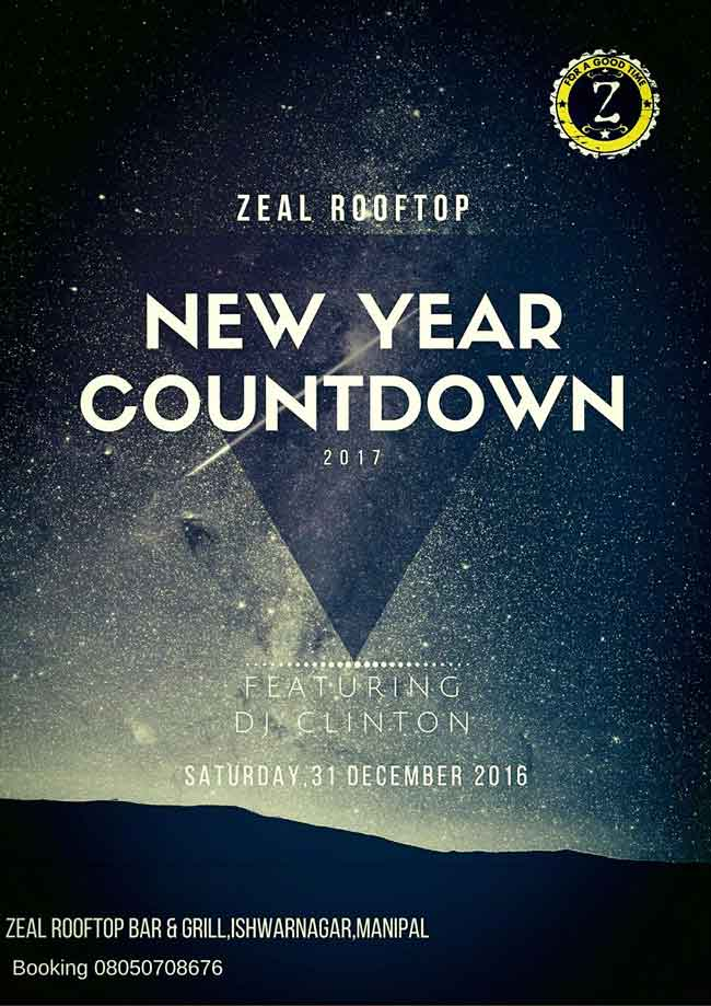 New Year Countdown 2017 - Zeal Rooftop Bar & Grill, Manipal
