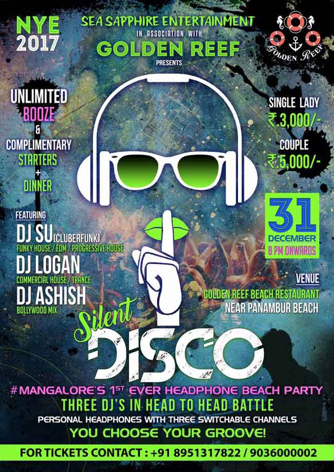 Silent Disco - Golden Reef Beach Restaurant, Panambur
