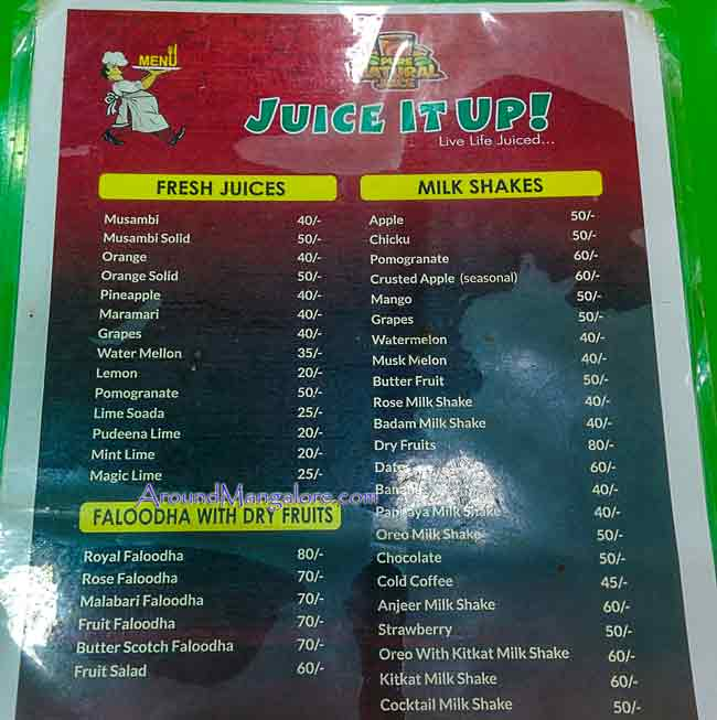 Food Menu - Juice It Up - Deralakatte, Mangalore