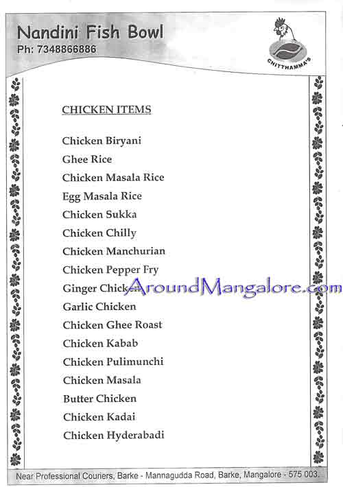 Food Menu - Nandini Fish Bowl, Barke, Mangalore