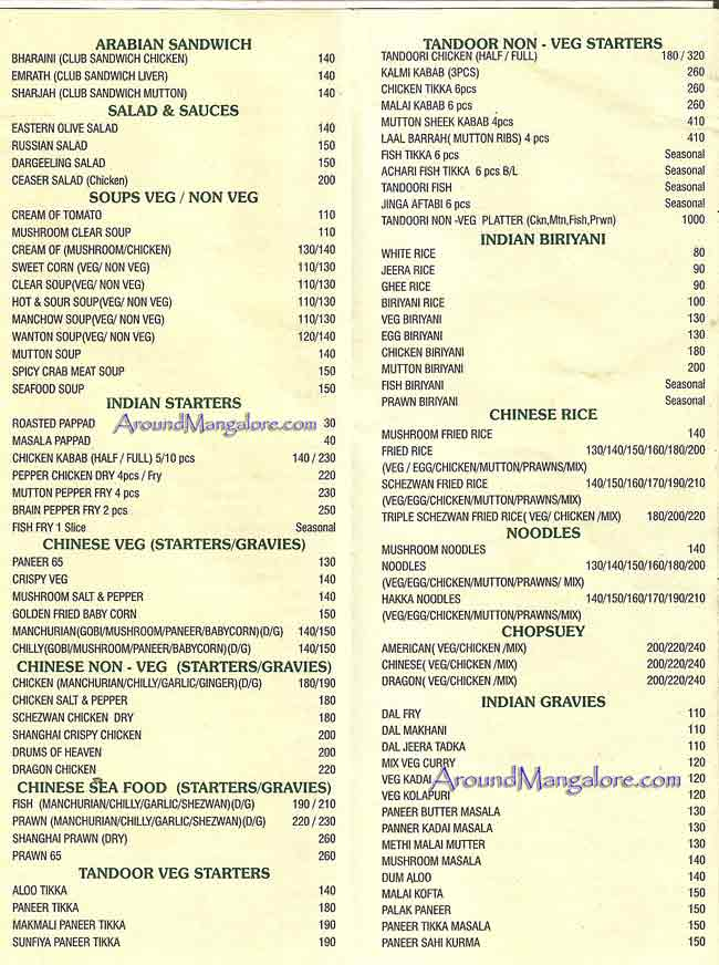 Food Menu - Savoury Restaurant, City Centre Mall, Mangalore