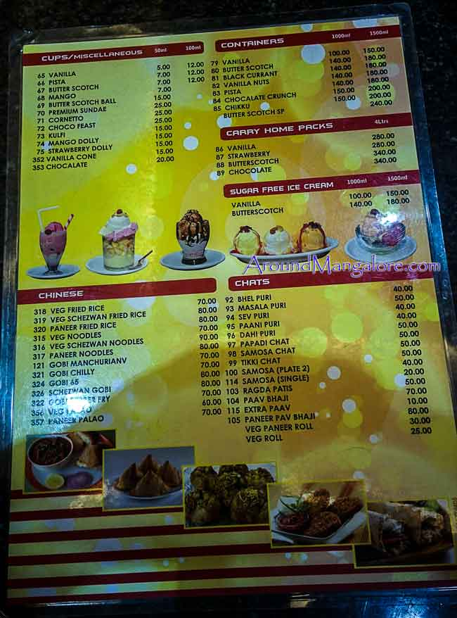 Ice Cream Menu - Rayan's - Cream Parlour, Mangalore