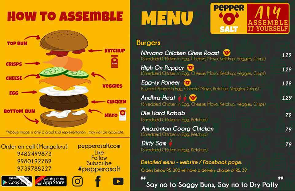 Pepper O Salt - AIY - Assemble It Yourself - Burgers, Mangalore