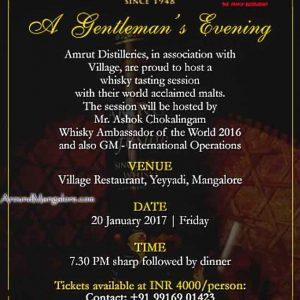 A Gentlemans Evening - 20 Jan 2017 - Amrut Distilleries - Village Restaurant, Mangalore
