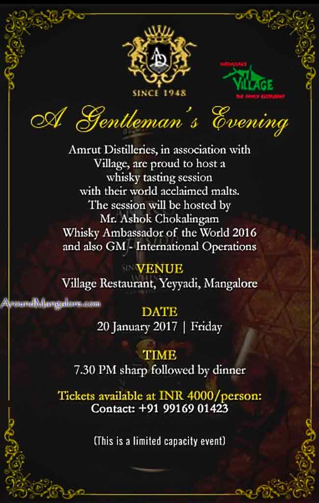 A Gentlemans Evening - 20 Jan 2017 - Amrut Distilleries - Village Restaurant, Mangalore