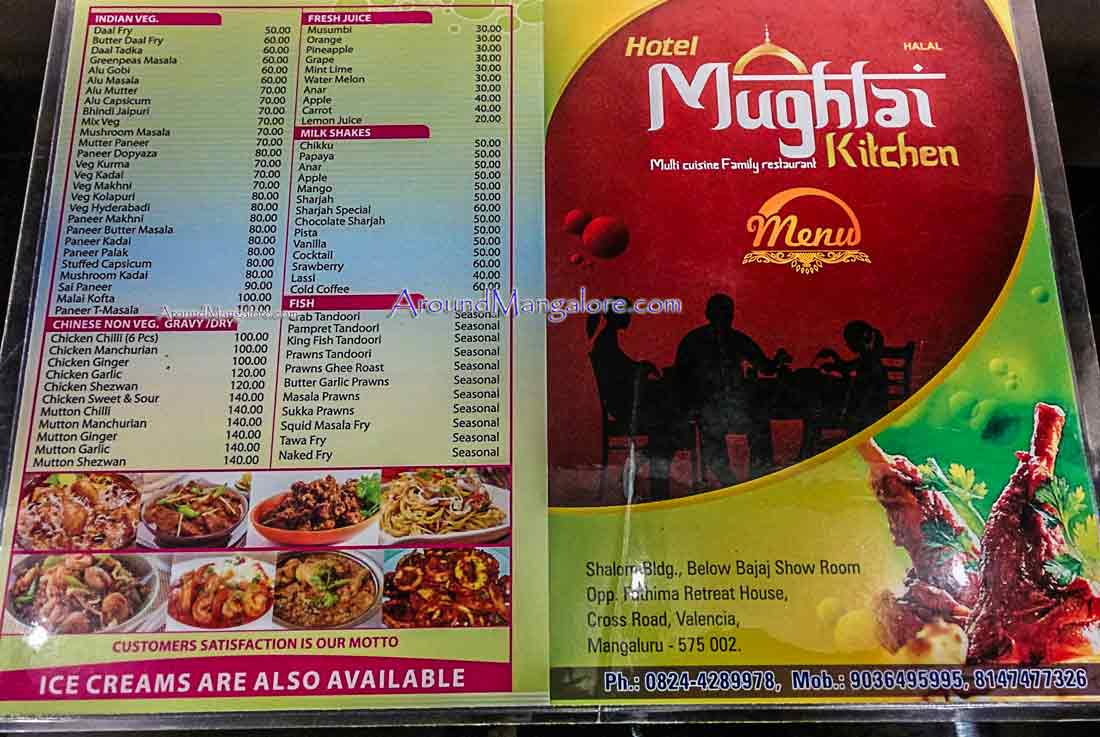 Food Menu - Hotel Mughlai Kitchen - Valencia, Mangalore