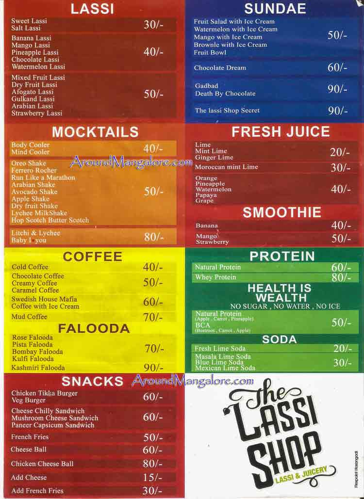 Food Menu - The Lassi Shop - MG Road, Mangalore