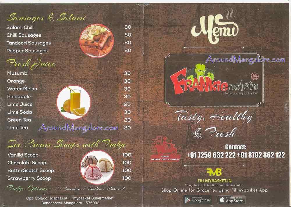 Food Menu - Frankienstein - Fillmybasket Supermarket. Bendoorwell, Mangalore