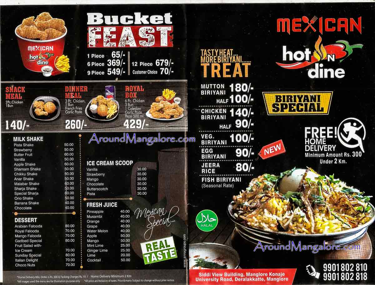 Food Menu - Mexican hot n dine - Deralakatte, Mangalore