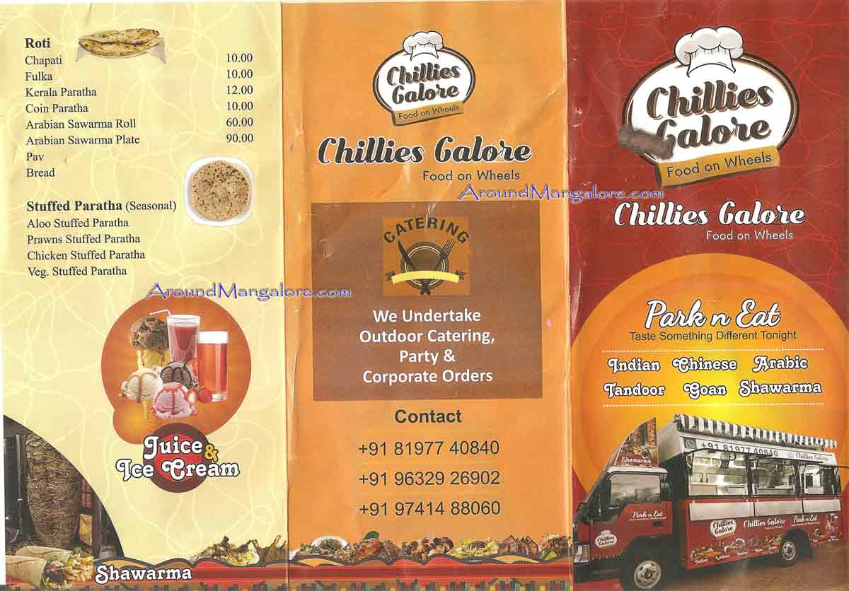 Food Menu - Chillies Galore - Food On Wheels - Near Kadri Park, Mangalore