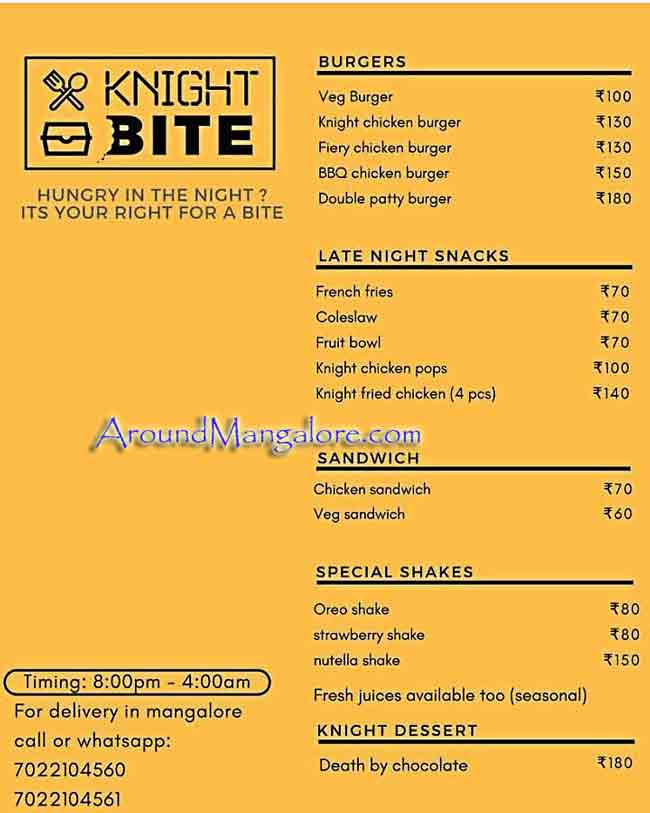 Food Menu - Knight Bite - Food Delivery Service, Mangalore