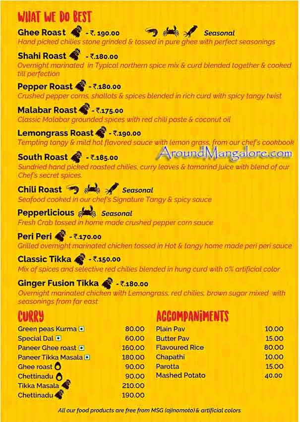 Food Menu - Zangos - Cloud Kitchen At Mangalore