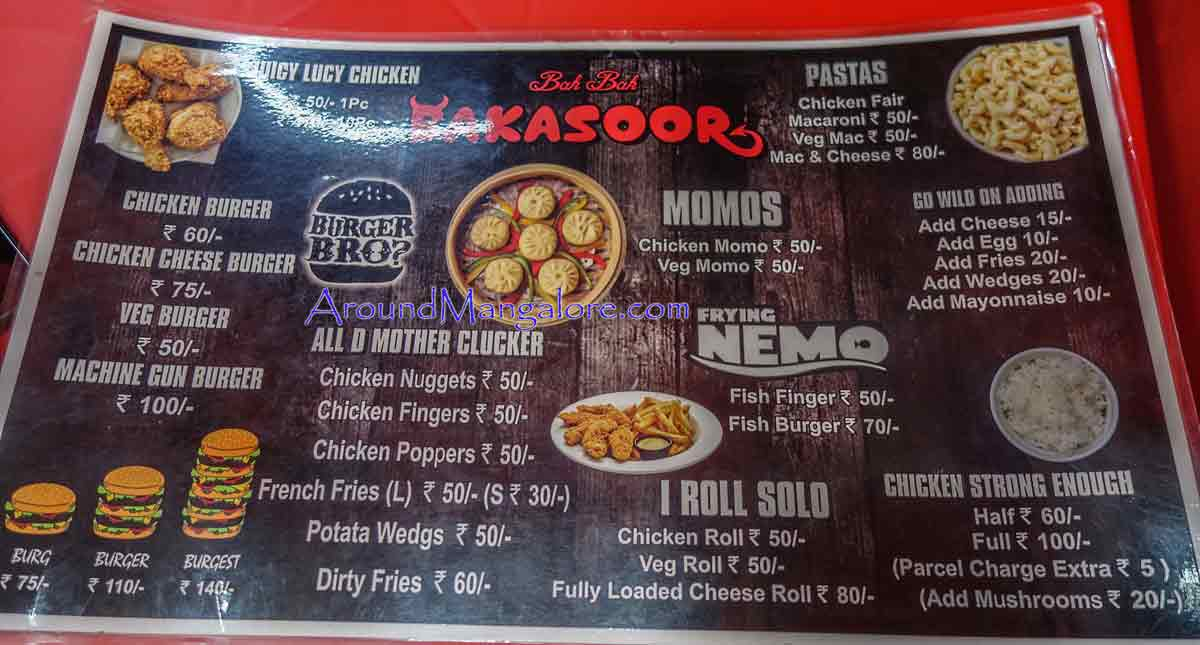 Food Menu - Bakasoor - Surathkal, Mangalore