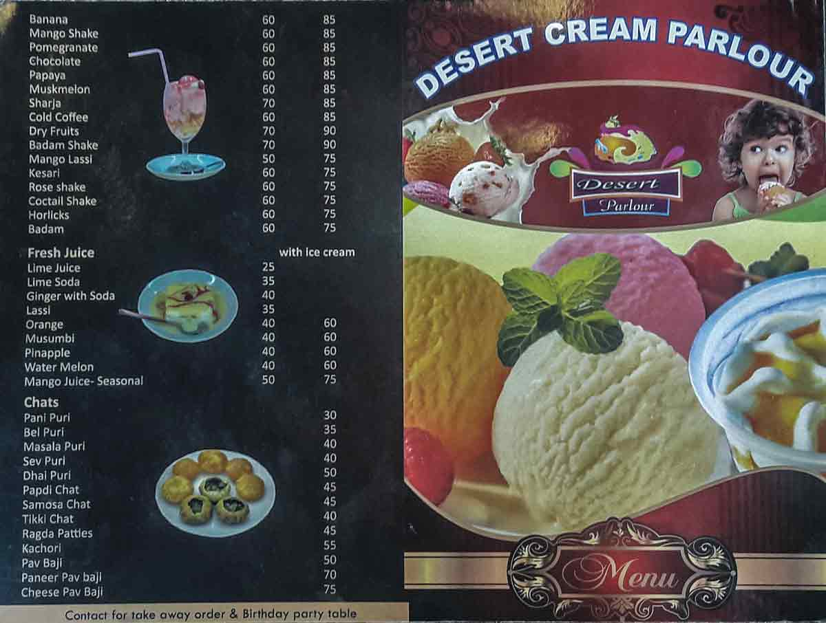 Food Menu - Desert Cream Parlour - Kodialbail, Mangalore