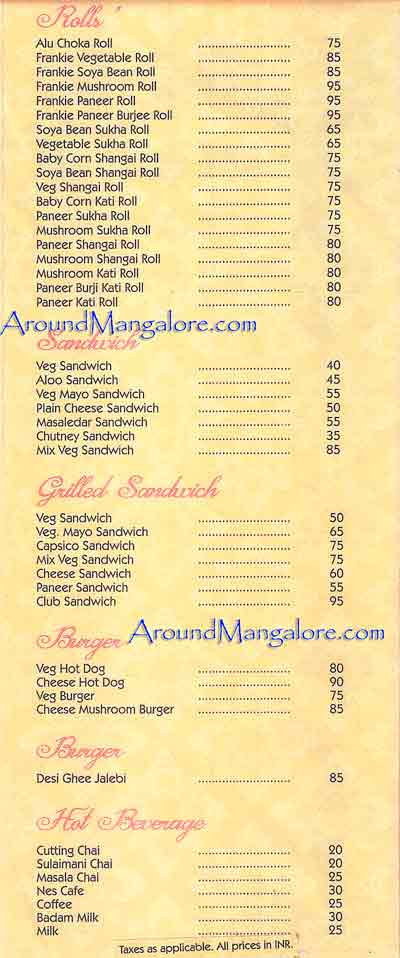 Food Menu - Mumbai Street Kitchen, Mangalore