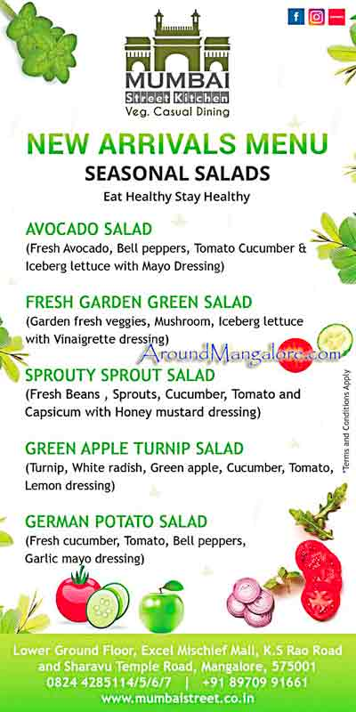 Salad Menu Mumbai Street Kitchen Mangalore - Mumbai Street Kitchen - Hampankatta