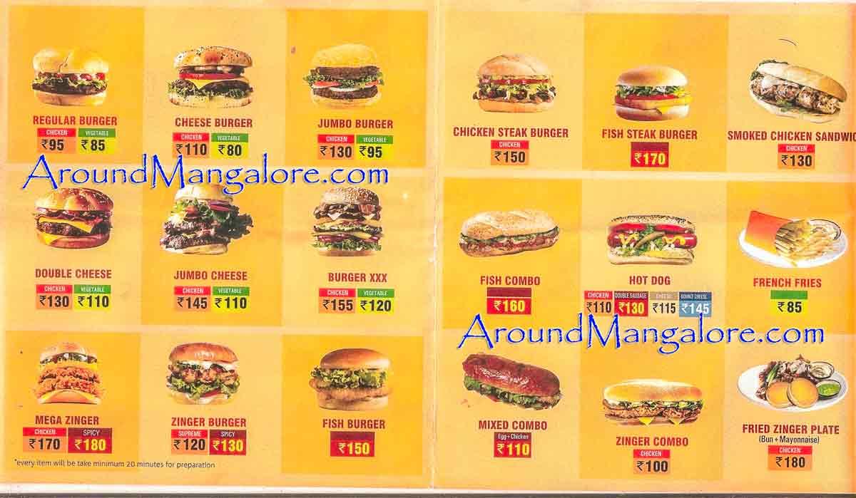 Food Menu Burger Lounge Mangalore P1 - Burger Lounge - Deralakatte