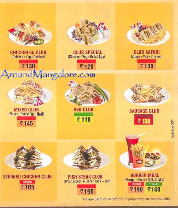 Food Menu - Burger Lounge - Mangalore