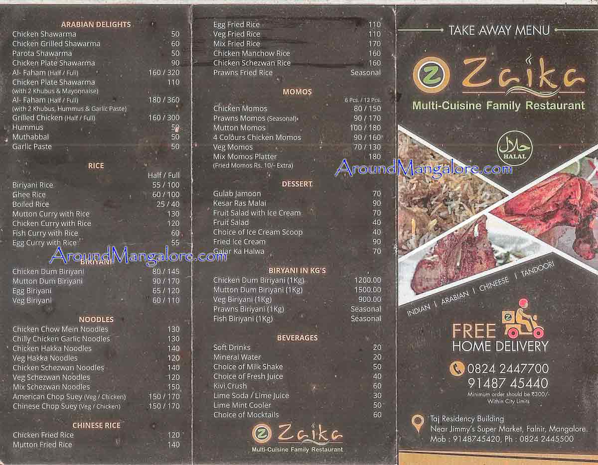 Food Menu - Zaika - Multi Cuisine Family Restaurant - Falnir, Mangalore