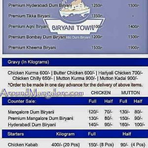 Food Menu - Biryani Town - Mangalore