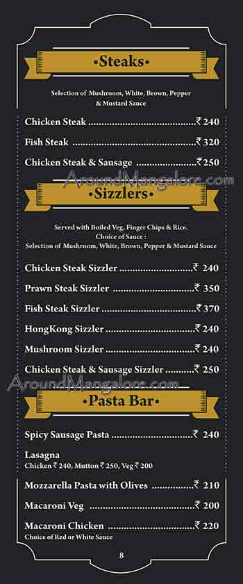 Food Menu - The Old Bison - The Retro Bar - Attavar, Mangalore
