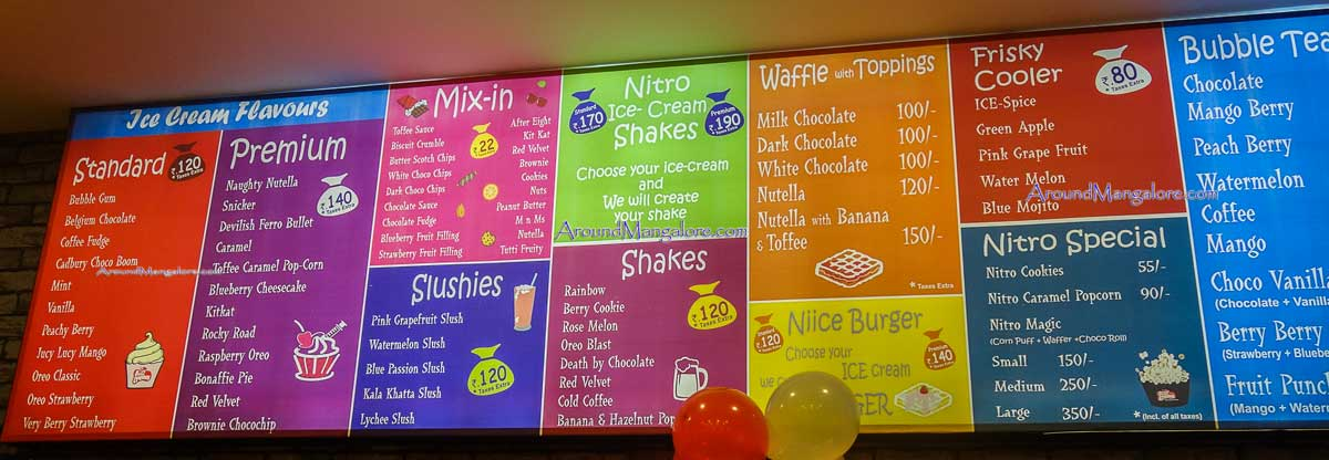 Ice Cream Menu - NIICE Cream - Forum Fiza Mall, Mangalore