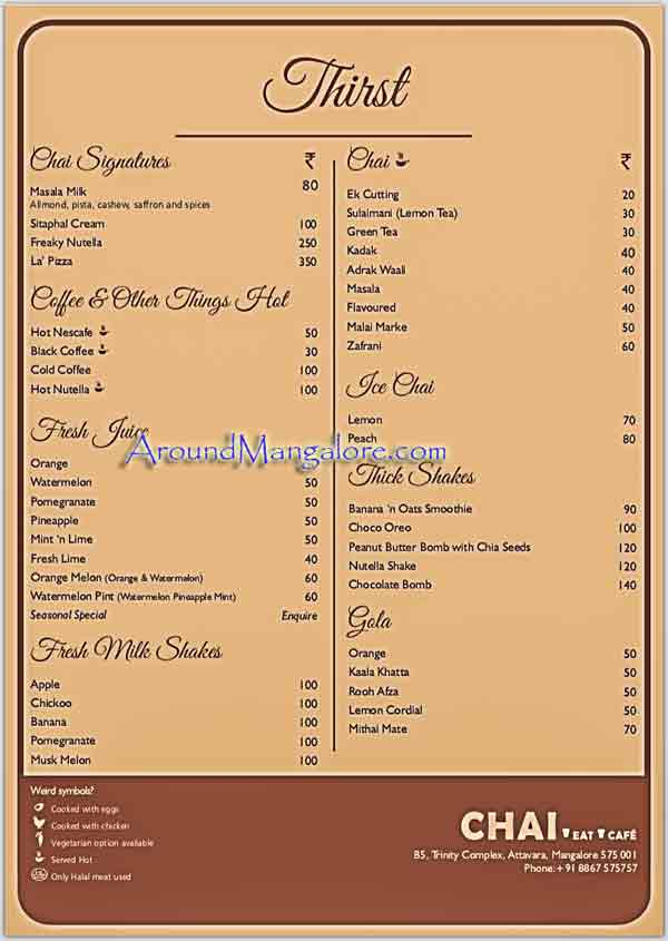Food Menu - Chai Café, Attavar, Mangalore