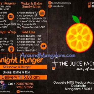 Food and Shake Menu - The Juice Factory - Deralakatte, Mangalore