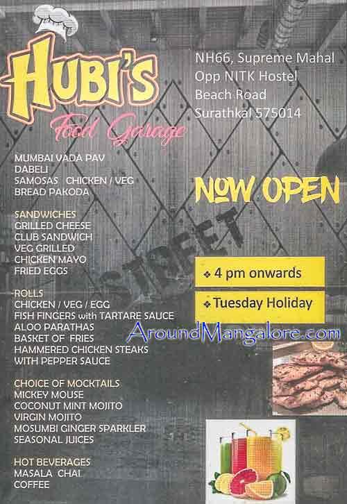 Food Menu Hubis Food Garage Surathkal Mangalore - Hubi's Food Garage - Surathkal