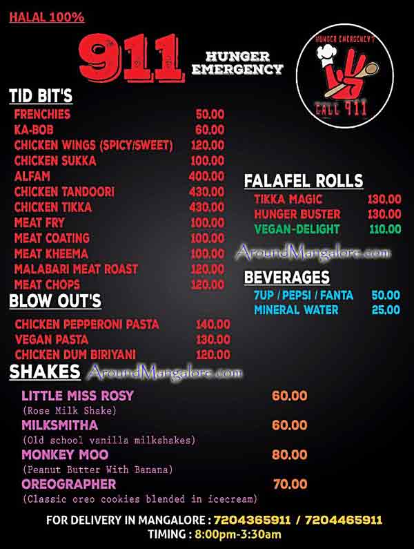 Food Menu - 911 Hunger Emergency - Food Delivery Service - Mangalore