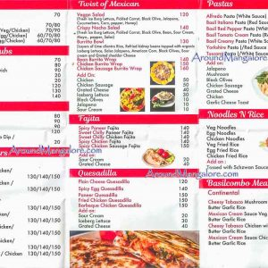 Food Menu - Basil Cafe - Bejai, Mangalore