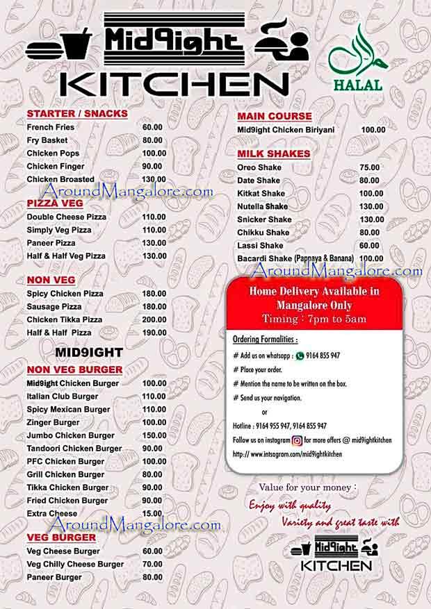 Food Menu - Mid9ight Kitchen - Food Delivery - Mangalore