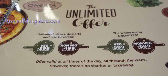 The Unlimited Offer - Onesta (Pizzeria) - Mak Mall, Kankanady, Mangalore