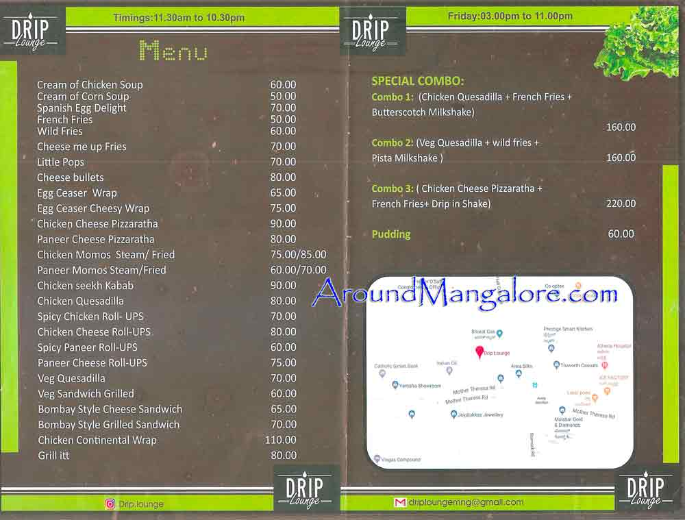 Food Menu - Drip Lounge Cafe - Falnir, Mangalore