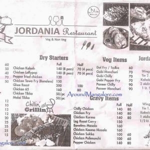 Food Menu - Jordania Restaurant - Bejai, Mangalore
