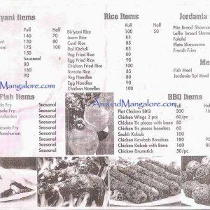 Food Menu - Jordania Restaurant - Bejai, Mangalore