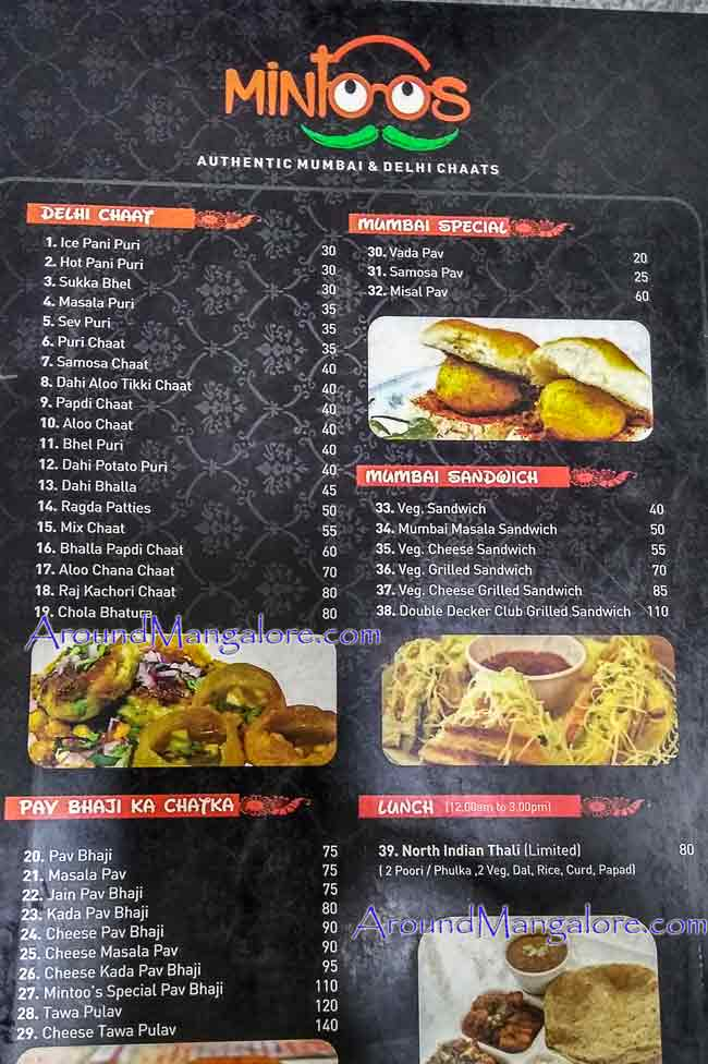 Food Menu -Mintoos – Delhi & Mumbai Chaat - CarStreet, Mangalore