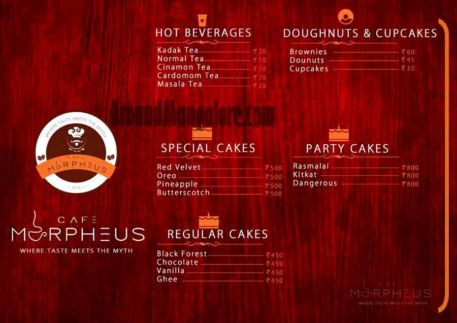 Food Menu - Cafe Morpheus - Kodialbail, Mangalore
