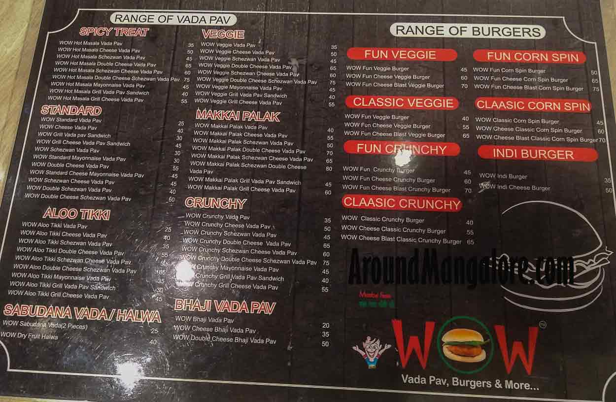 Food Menu - Dhaba Cafe - WOW Vada Pav - Chaat Chatore - MG Road, Ballalbagh, Mangalore