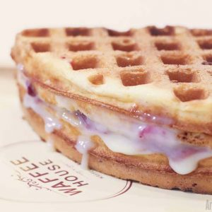 Strawberry Cream Cheese Belgian Waffle - Waffee House - Cafe - Waffle plus Coffee - Bendoorwell, Mangalore