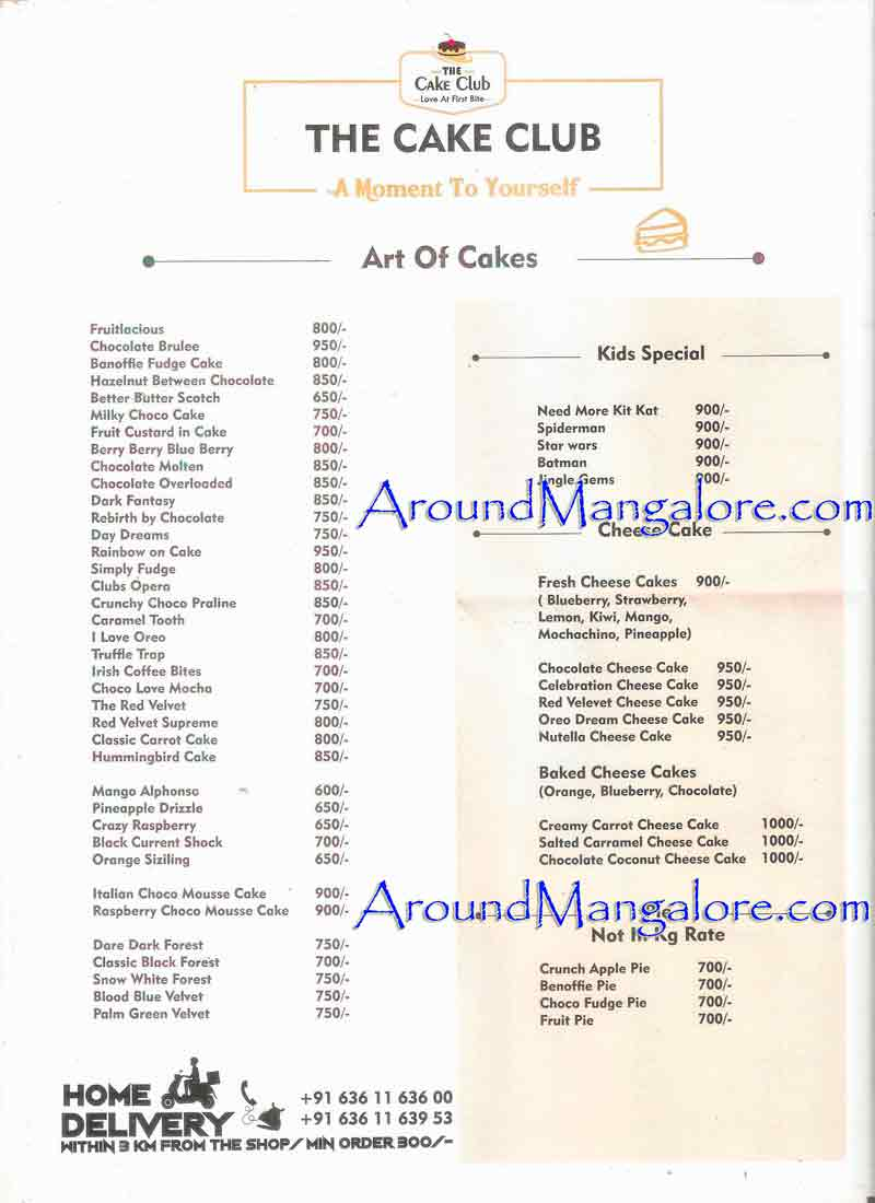 Cake Menu - The Cake Club - Cake Shop- Bejai Kapikad Road, Mangalore